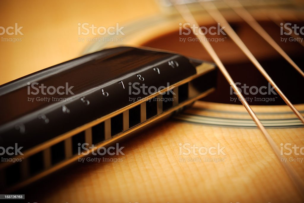 guitar and harmonica royalty-free stock photo