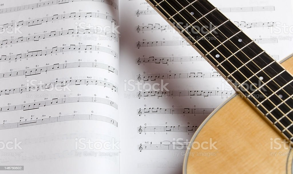 Guitar and Sheet Music royalty-free stock photo