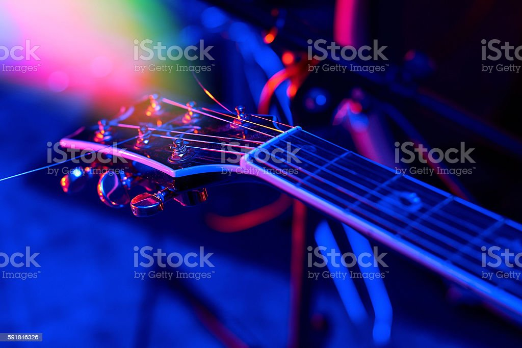 Guitar at the concert stock photo