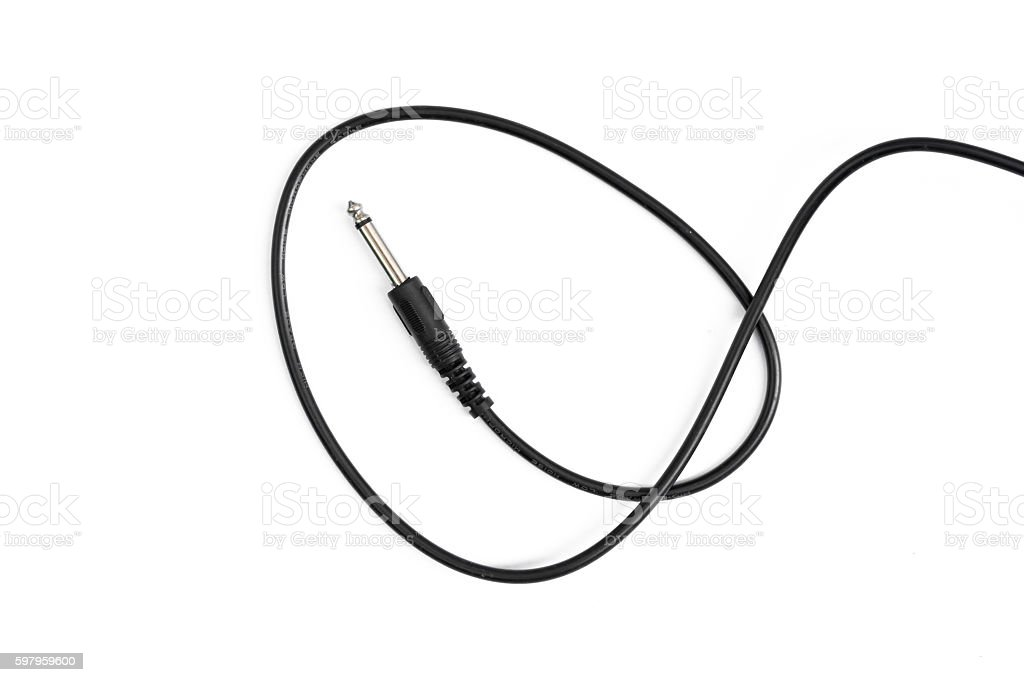 Guitar audio jack with black cable isolated on white background stock photo