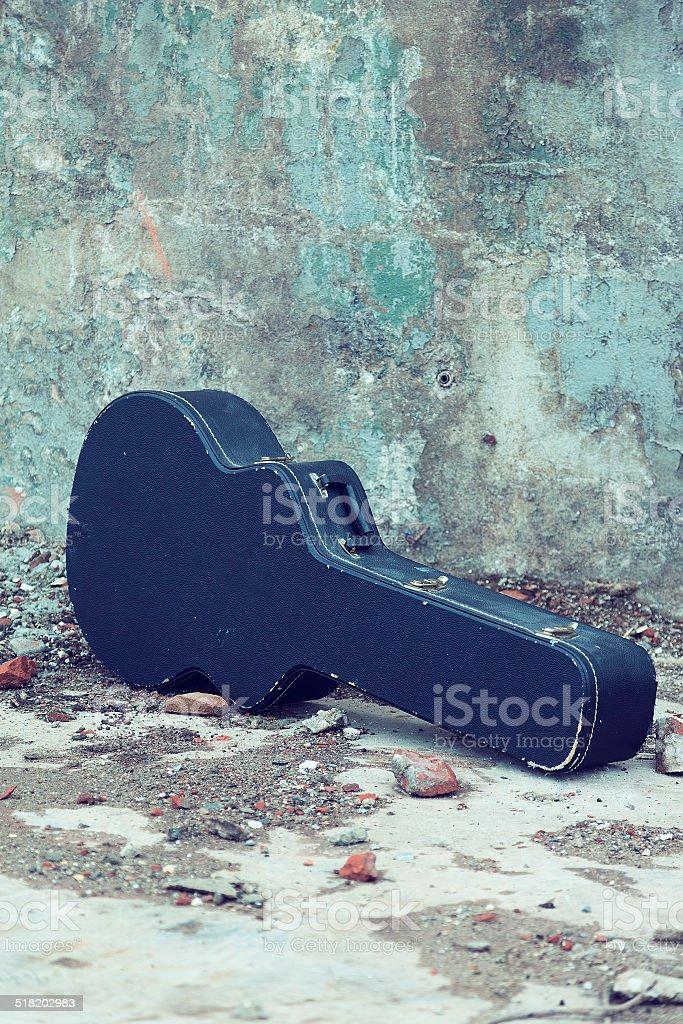 Guitar case Vintage stock photo