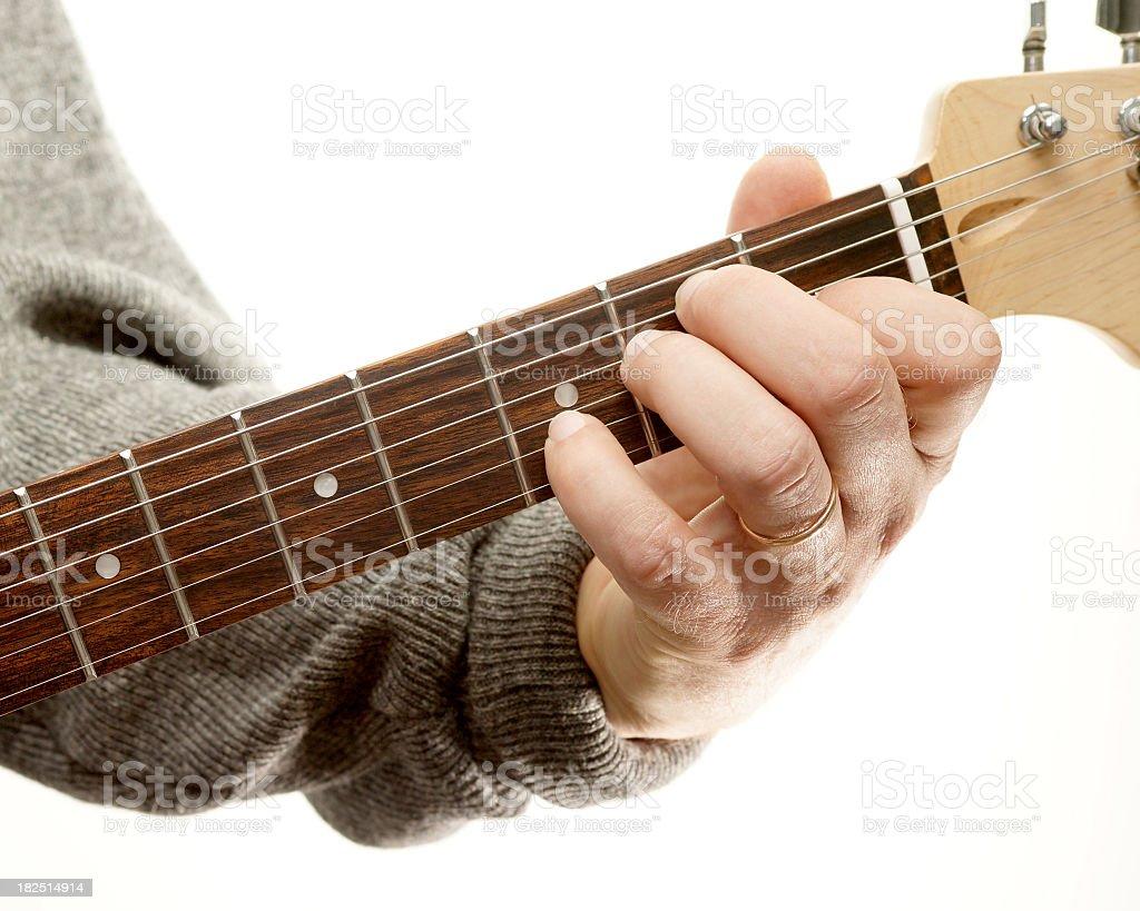 Guitar chords series, E seventh stock photo