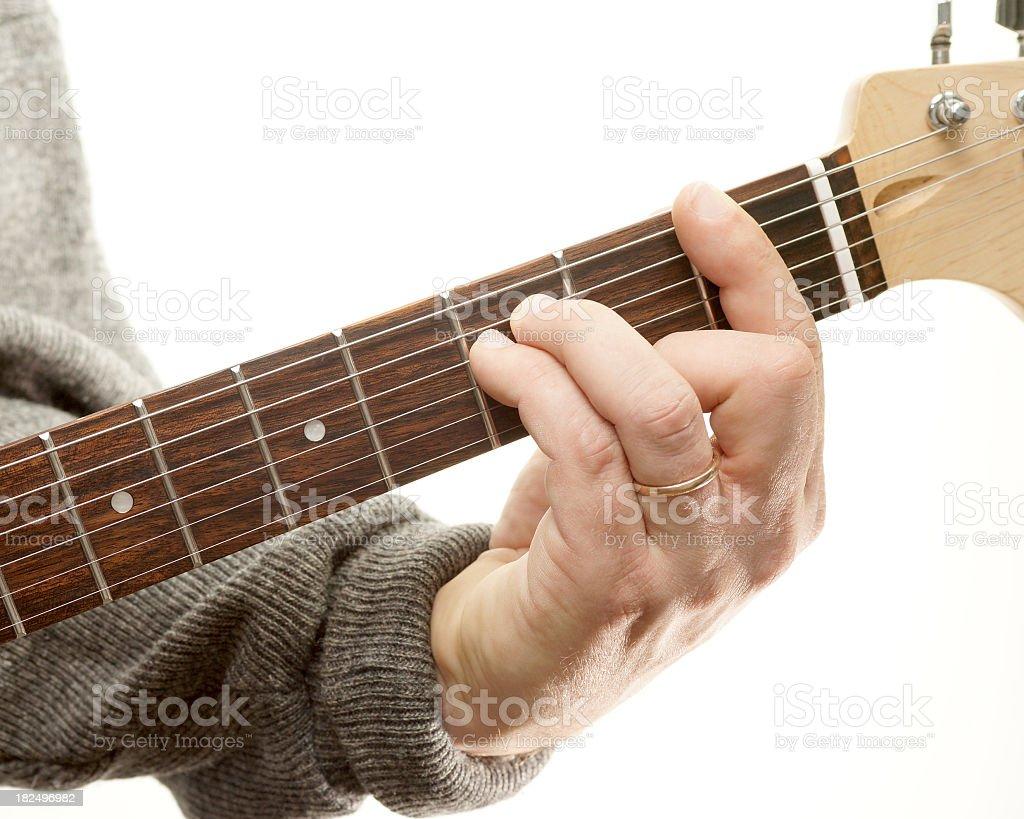 Guitar chords series, F minor (movable bar chord) stock photo
