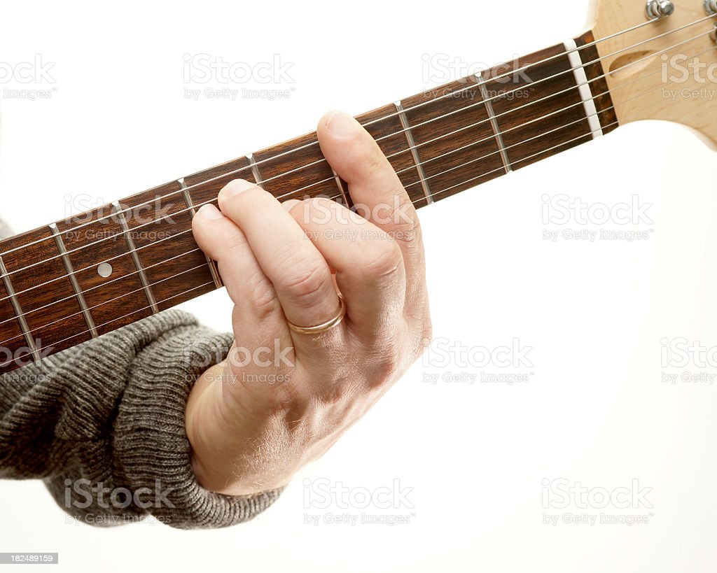Guitar chords series. Movable bar chord, G major. royalty-free stock photo