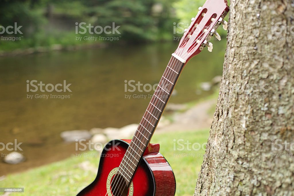 guitar close to river stock photo