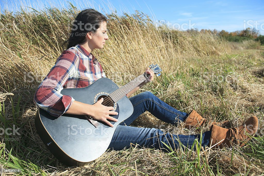 Guitar Field Country Style royalty-free stock photo