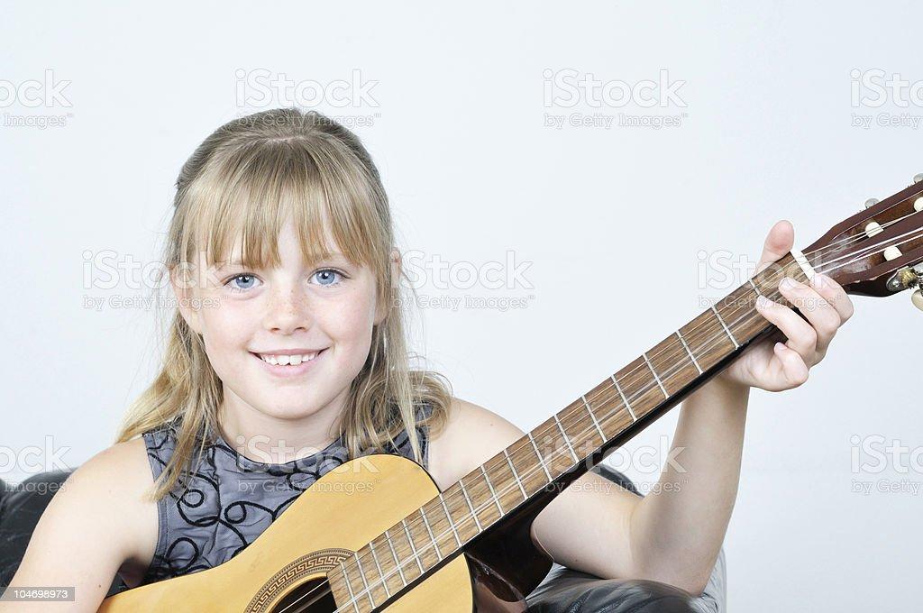 Guitar Girl Smile stock photo