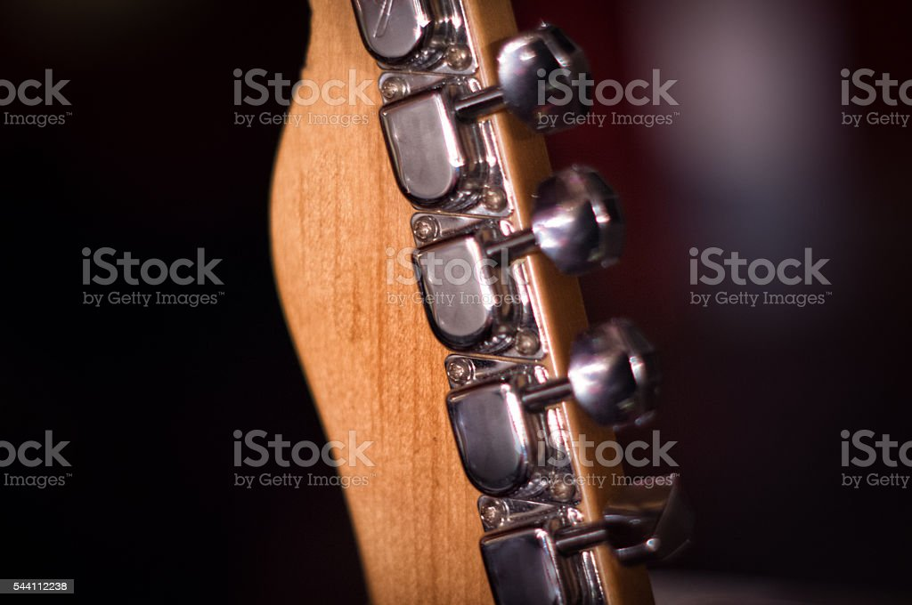 Guitar head close up stock photo
