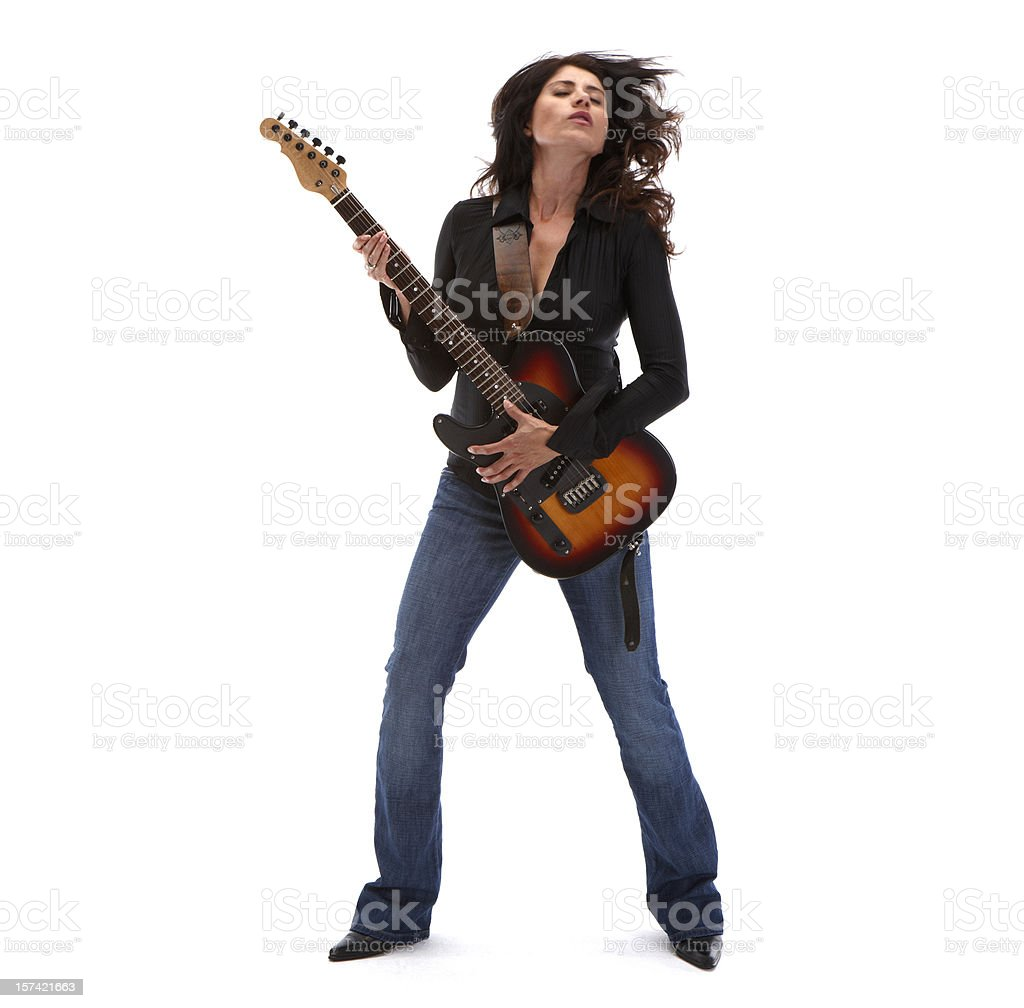 Guitar Heroine head back color royalty-free stock photo