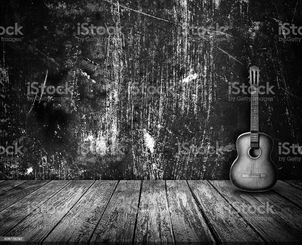 Guitar in the interior stock photo