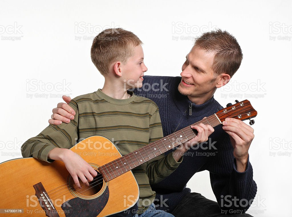 guitar lessons with dad royalty-free stock photo