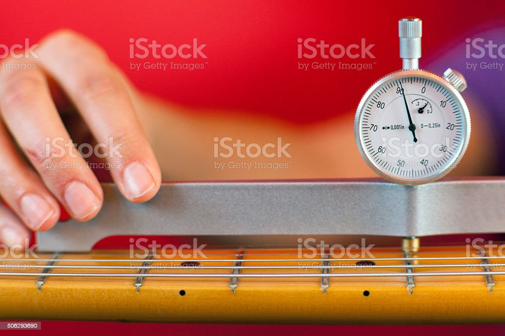 Guitar Neck Relief Gauge stock photo