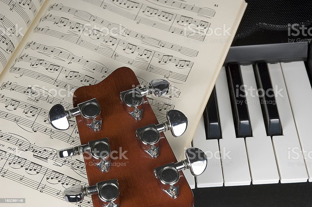 guitar, notes and piano royalty-free stock photo