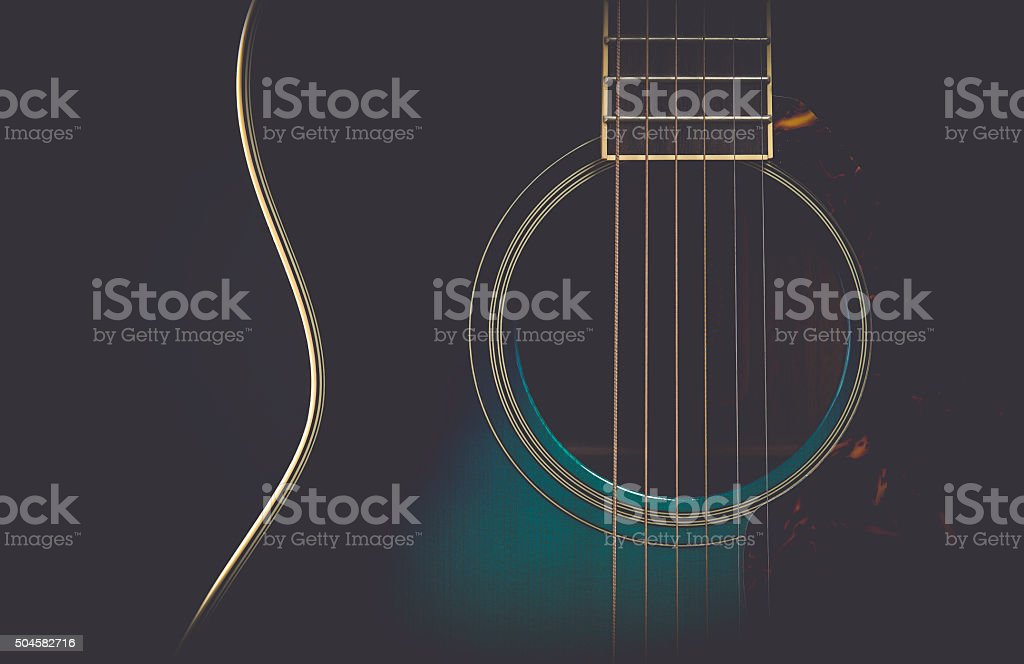 Guitar on black with matte finish stock photo