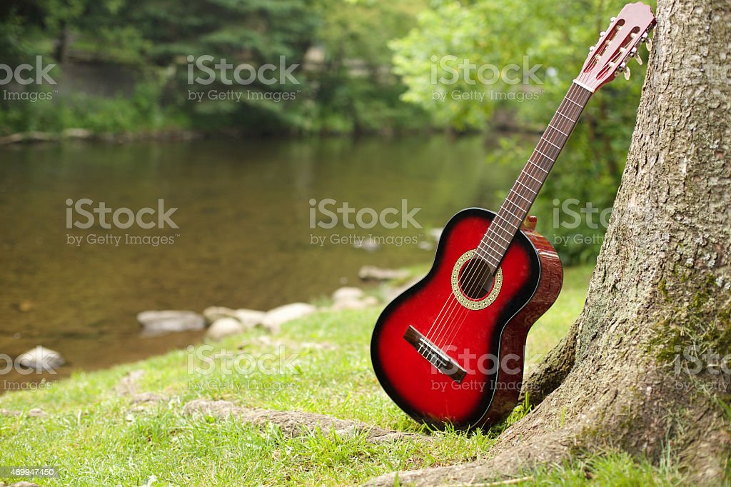 guitar on river stock photo
