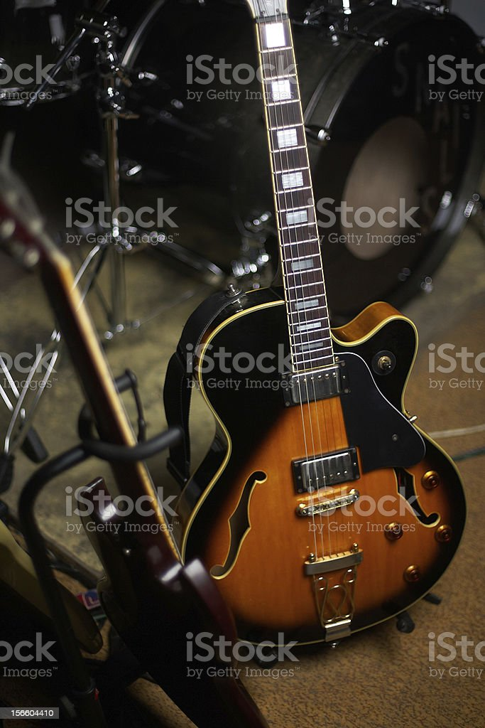 Guitar on stage royalty-free stock photo