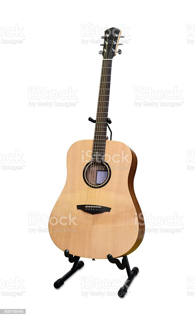 Guitar on stand stock photo