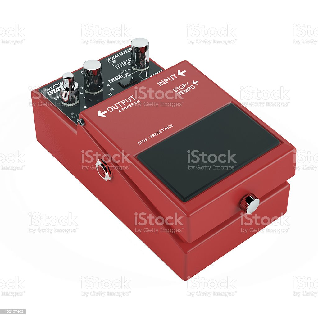 guitar pedal isolated. Red color stock photo