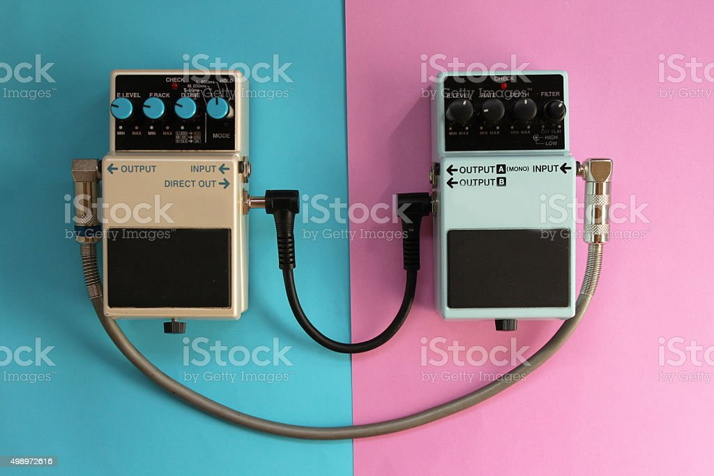 Guitar pedals - music concept stock photo