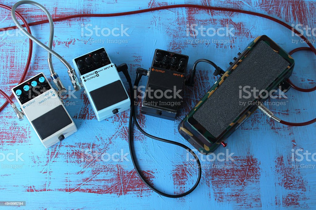 Guitar pedals stock photo