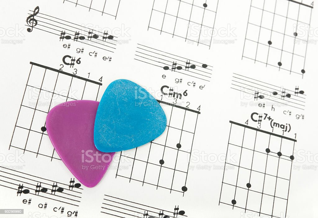 Guitar picks on a chords chart royalty-free stock photo