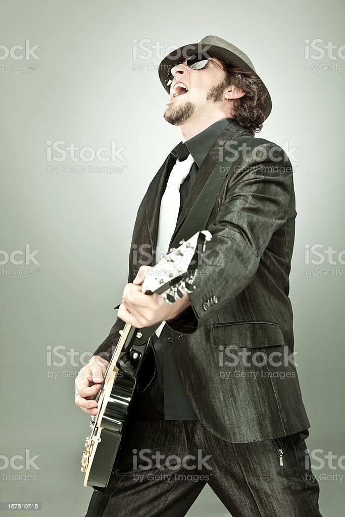 Guitar player and singer in concert royalty-free stock photo