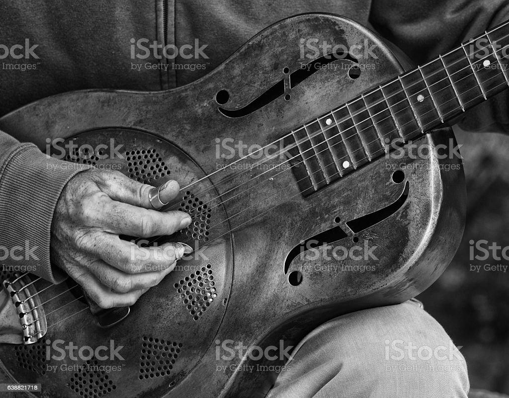 Guitar player detail stock photo