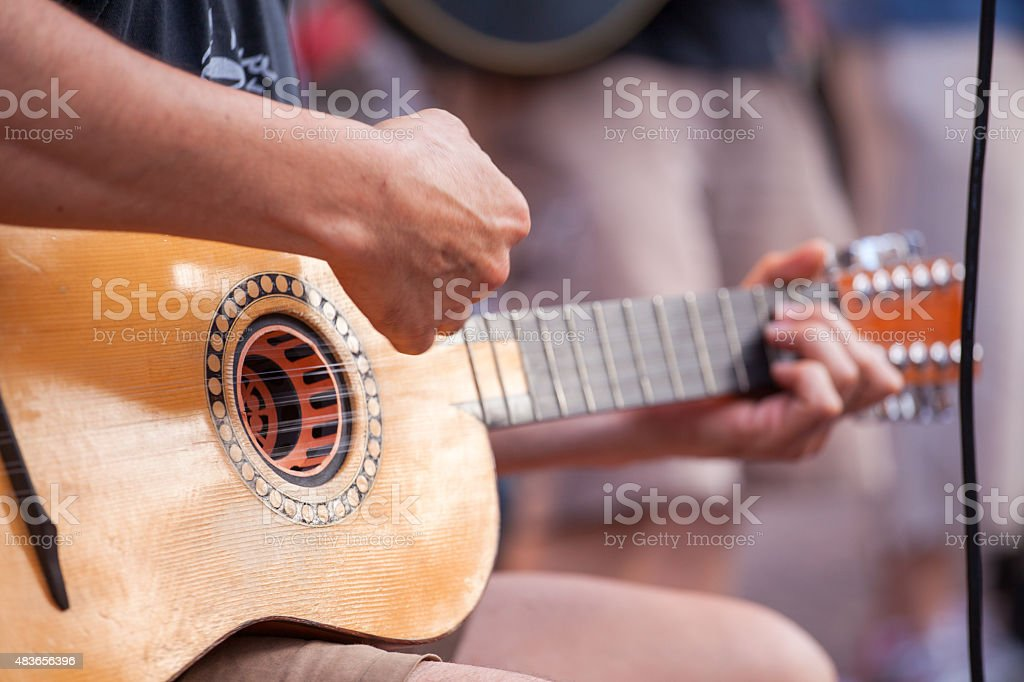 Guitar player during the street concert stock photo