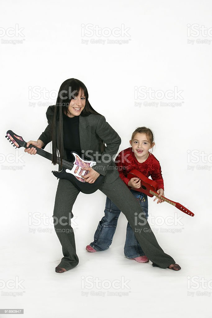 Guitar Playing Girls royalty-free stock photo