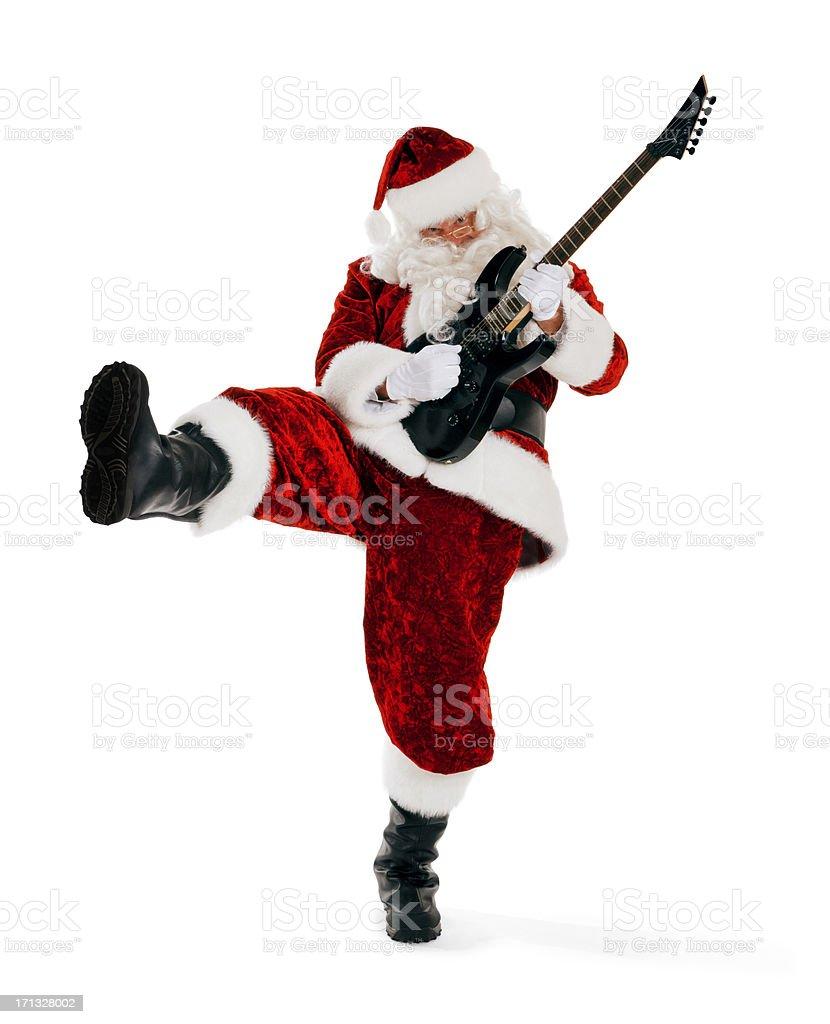 Guitar Playing Santa Claus on White royalty-free stock photo