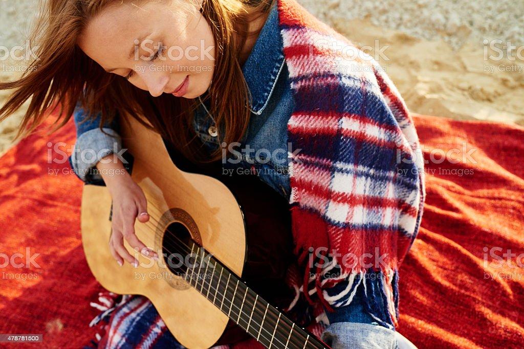 Guitar practice stock photo