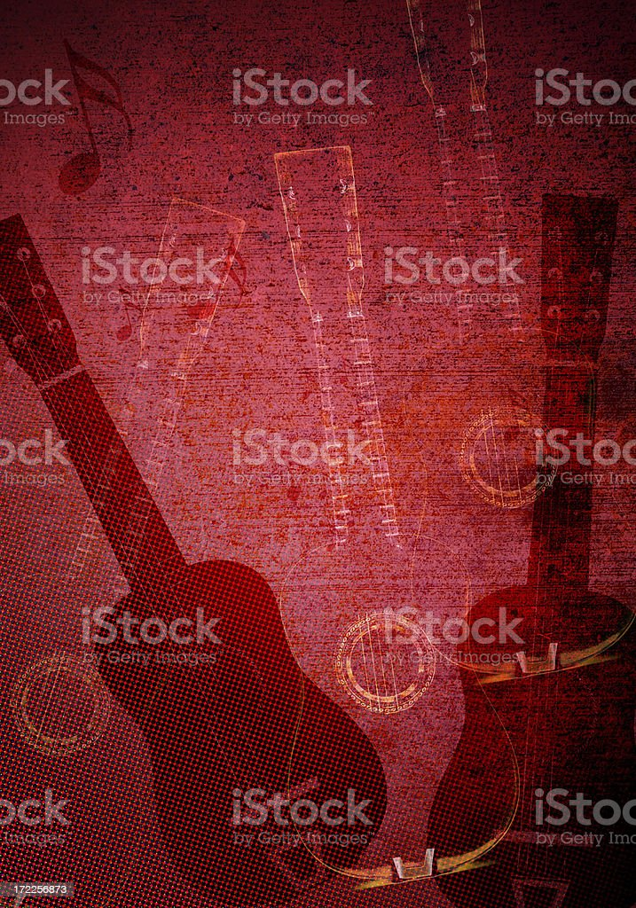 Guitar Red Grunge Background royalty-free stock photo