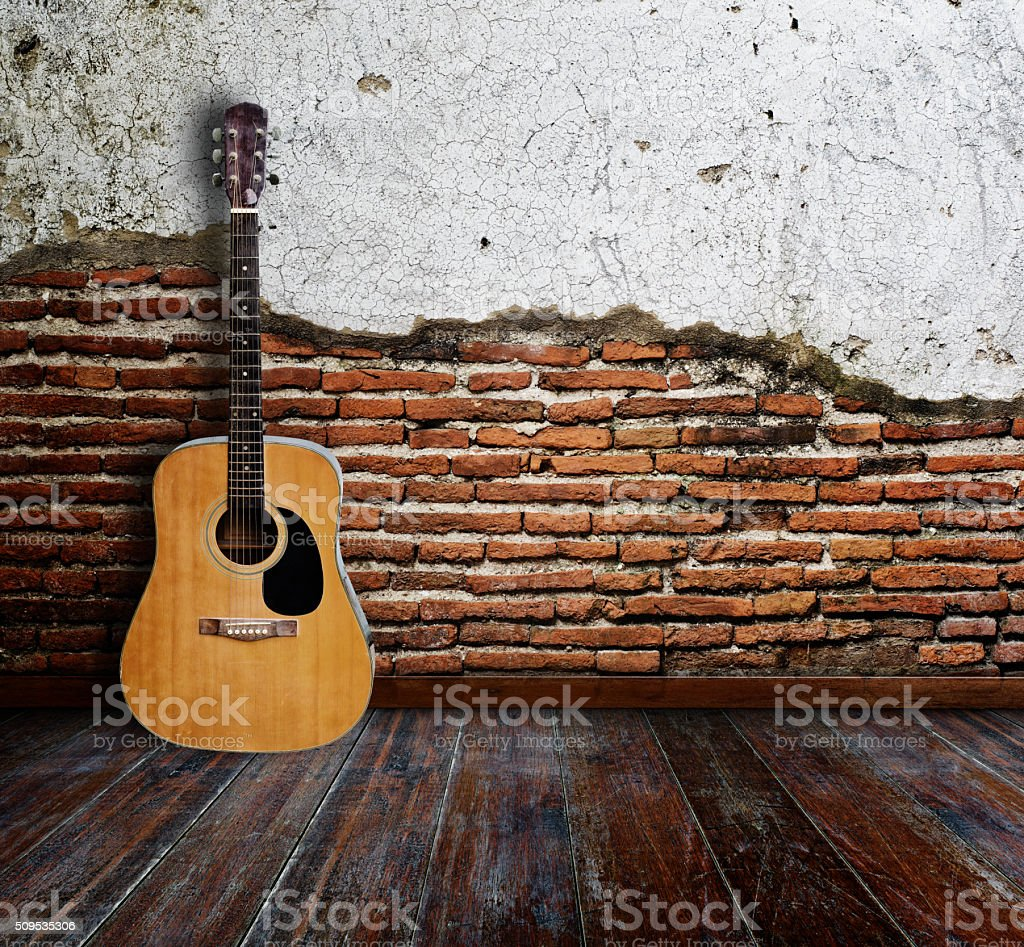 Guitar room stock photo