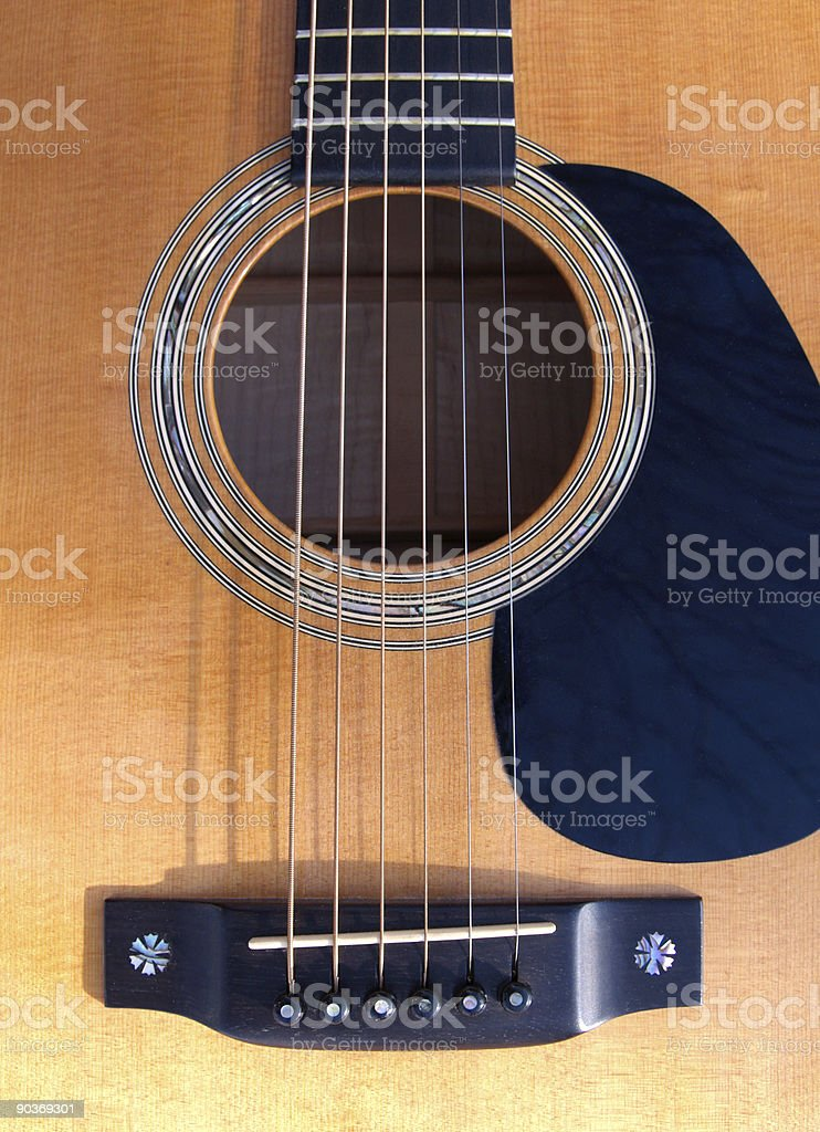 Guitar Soundhole, Bridge, and Fingerboard stock photo