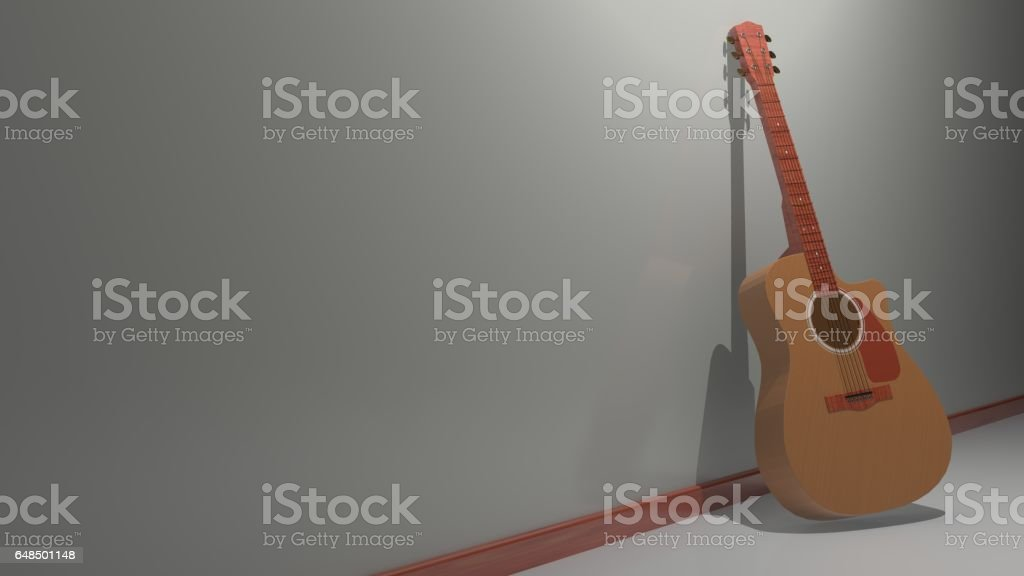 Guitar standing at wall stock photo