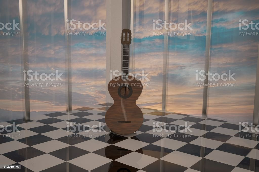 Guitar standing in elegant room stock photo