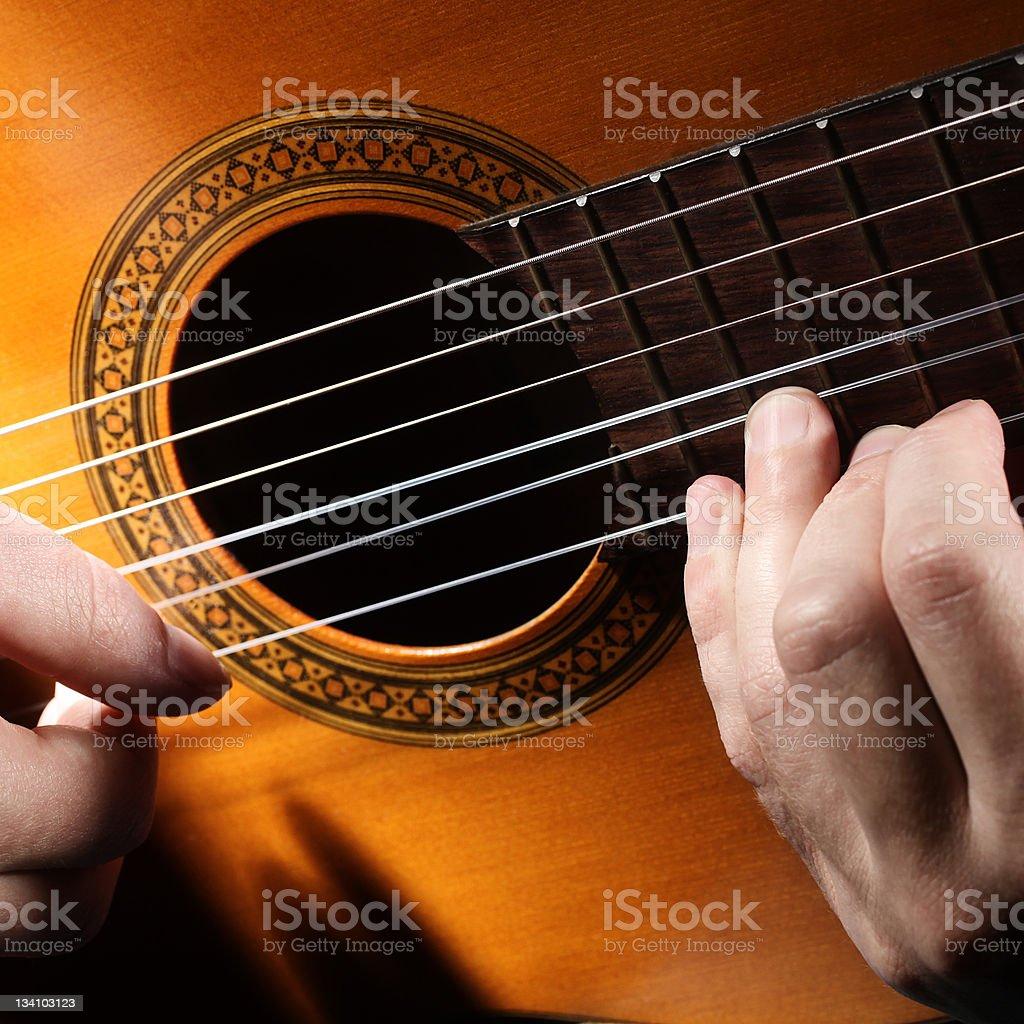 Guitar string music art. Acoustic guitarist stock photo