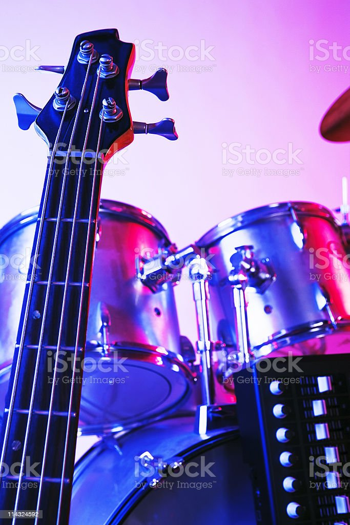 Guitar, synthesizer and drums stock photo