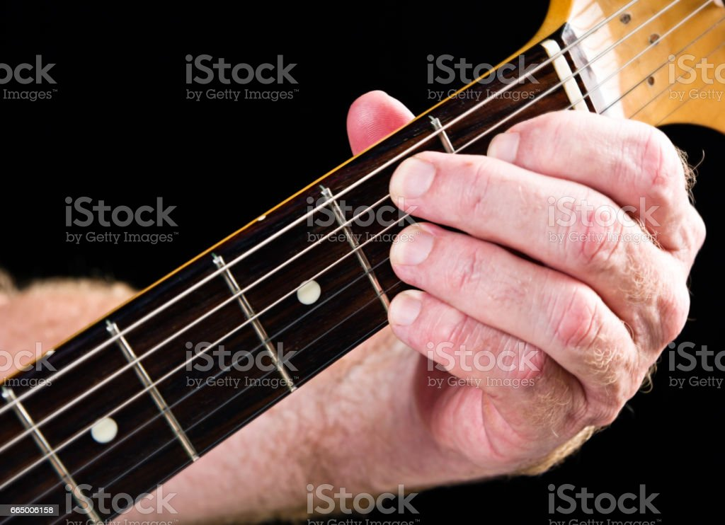 Guitar tutorial: B dominant seventh demonstration on electric guitar stock photo