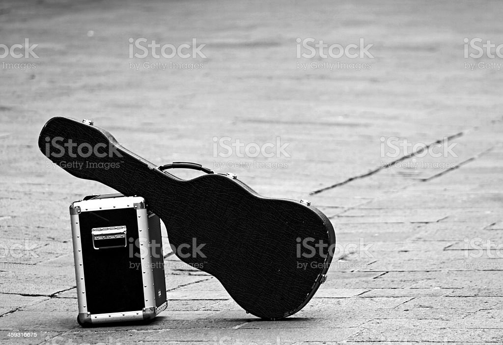 guitar with amplifier isolated abandoned stock photo
