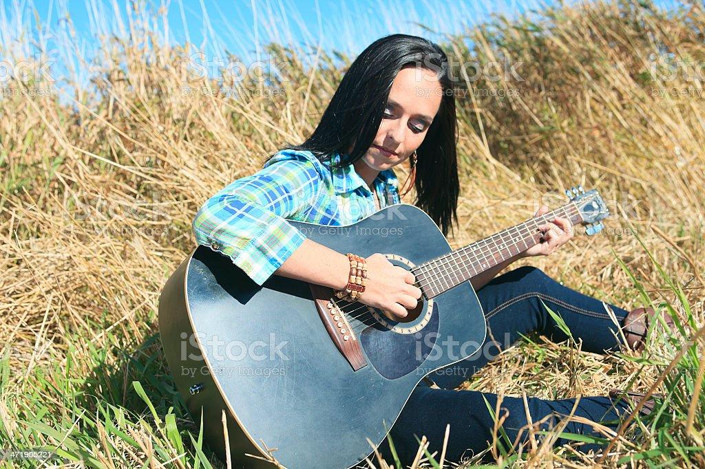Guitar Woman Field royalty-free stock photo