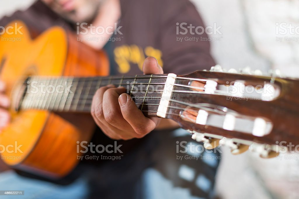 Guitarist in the street stock photo