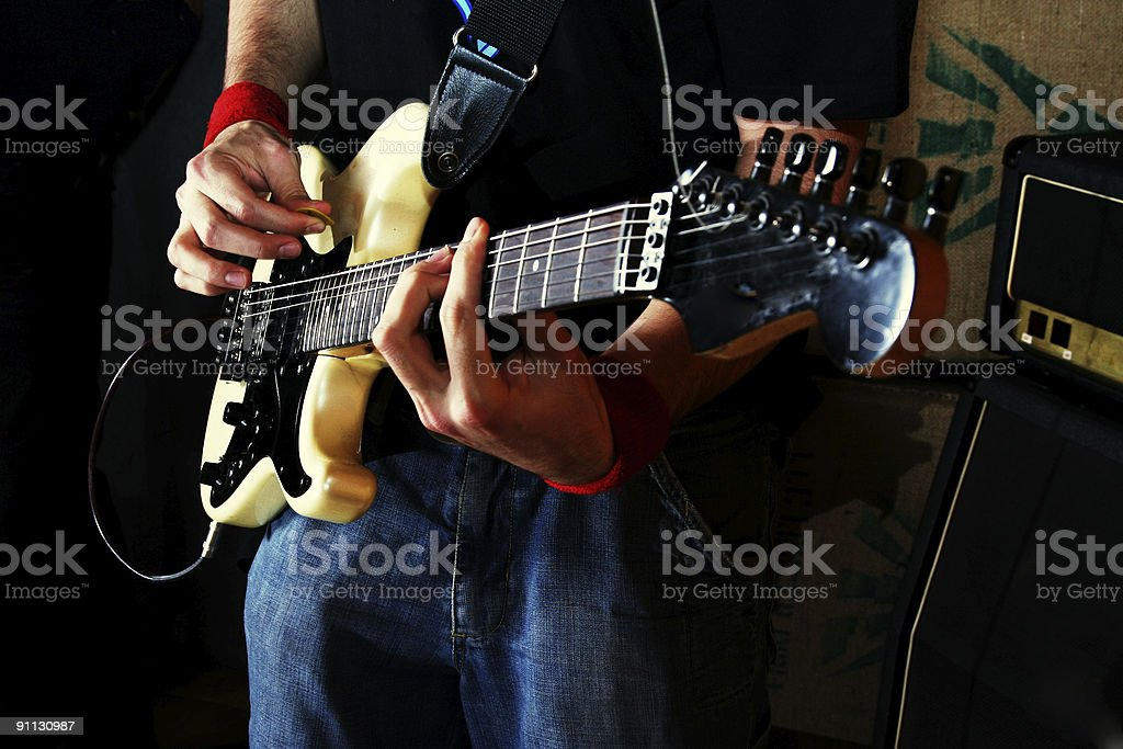 Guitarist play rock guitar stock photo