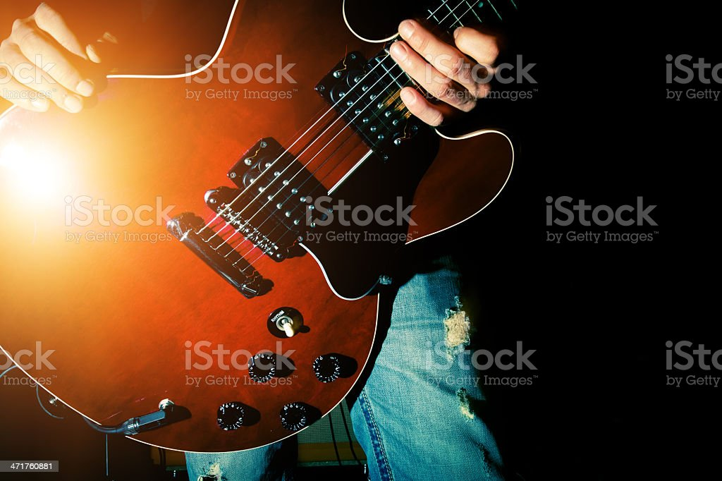 Guitarist Playing Guitar royalty-free stock photo