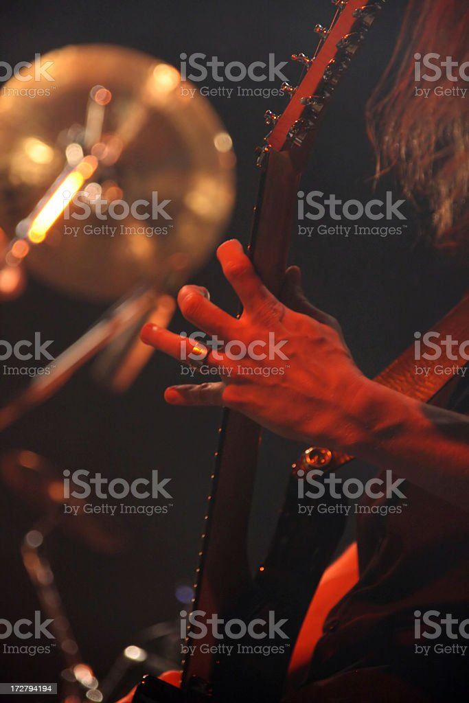 Guitarists' hand royalty-free stock photo