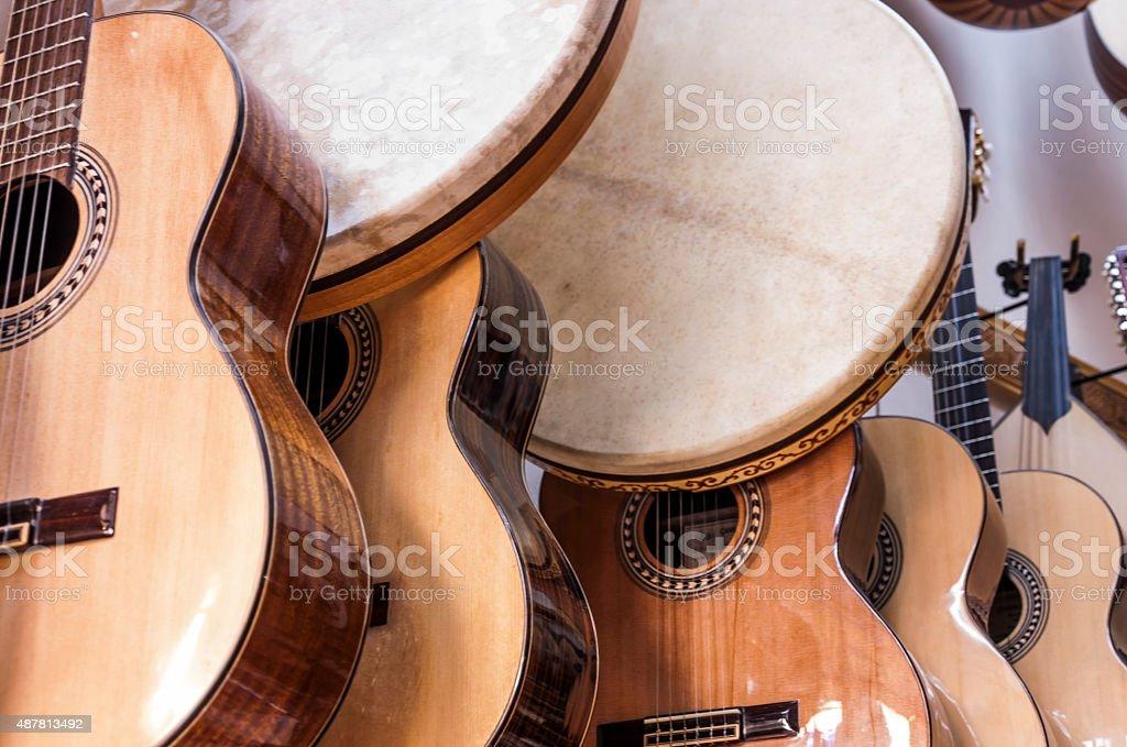 Guitars and bendirs stock photo