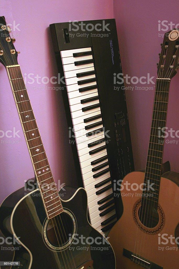 guitars and synthesizer keyboard stock photo