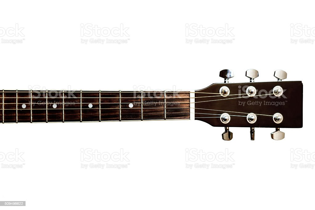 Guitars neck fretboard and headstock stock photo