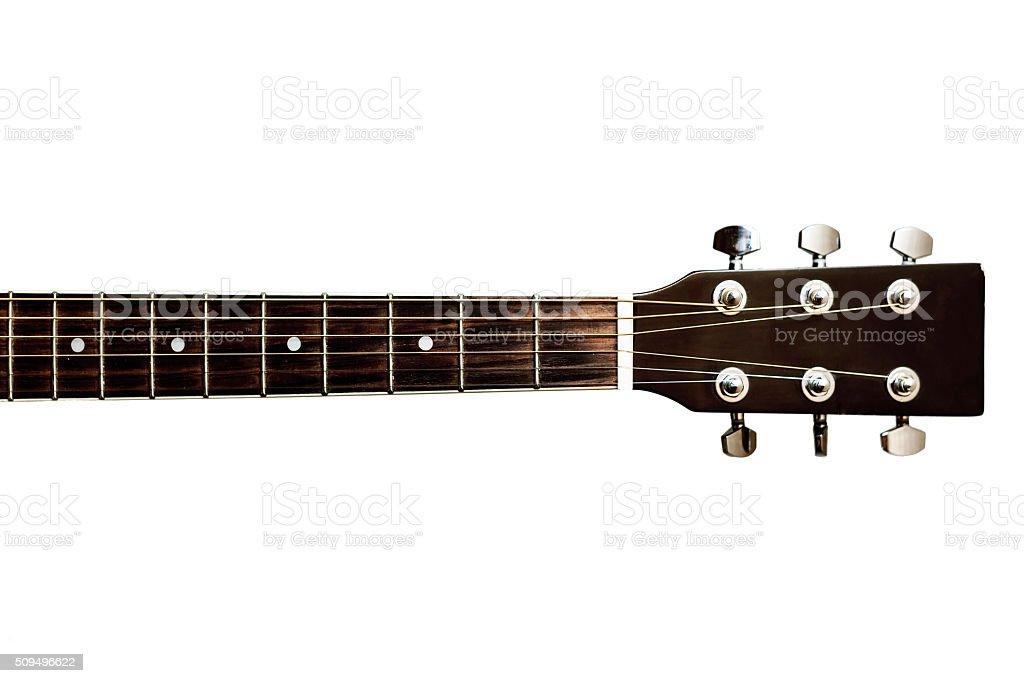 Guitars neck fretboard and headstock stock photo