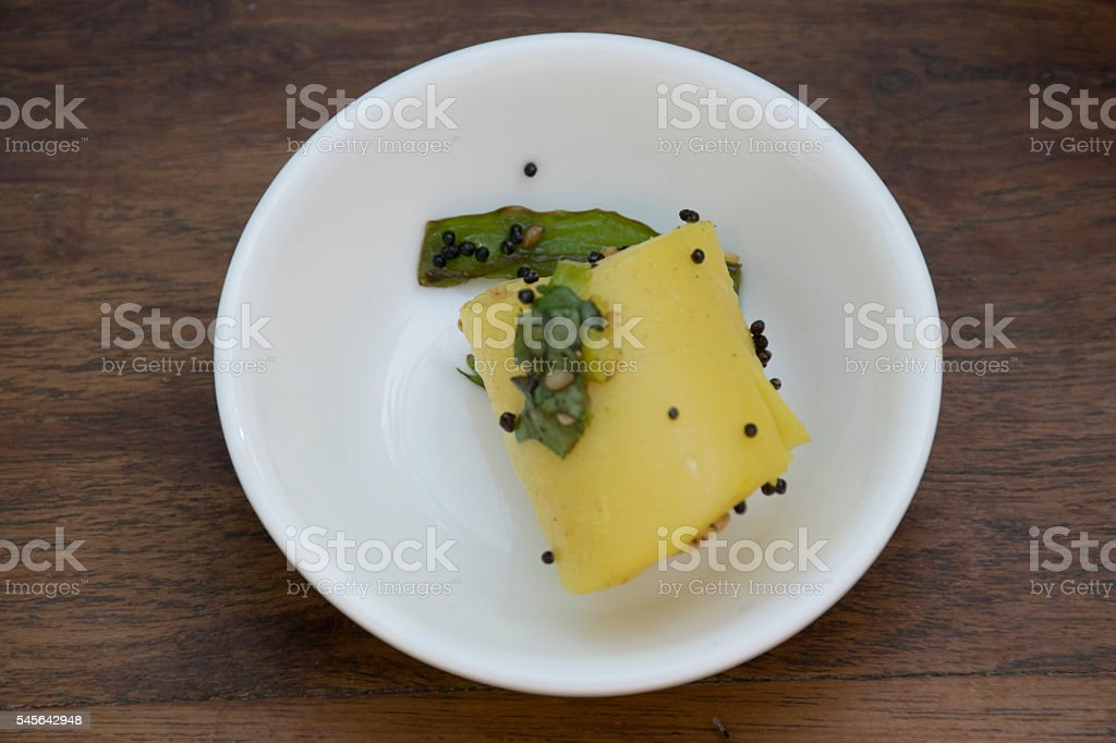 Gujarati snack Khandvi stock photo